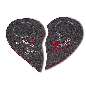 Bestickte Mug Rugs Tassenteppich Untersetzer für Kaffeetasse 2er Set als Geschenk zur Hochzeit, zum Valentinstag