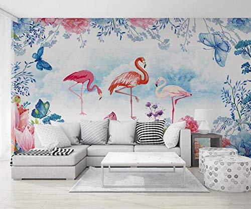 SKTYEE Papel de Parede 3D Custom Wallpaper Floral Flamingo Background Wall Paper Mural Carta da parati tapeta 3D, 200x140 cm (78.7 by 55.1 in)