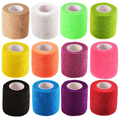 Pangda 12 Pieces Adhesive Bandage Wrap Stretch Self-Adherent Tape for Sports, Wrist, Ankle, 5 Yards Each (2 Inch, 12 Colors)