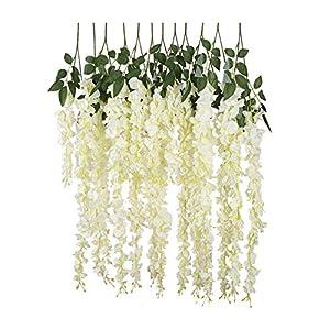 SmarketL New Artificial Silk Wisteria Vine Ratta Silk Hanging Flower Wedding Decor,6 Pieces,(White)-White-105cm