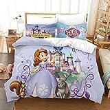 Yumhi Twin Size Bedding Set Sofia The First Princess Duvet Cover Set 3D Cartoon Comforter Cover 2 Piece, 1 Duvet Cover + 1 Pillowcase