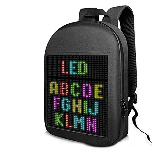 MXXQQ Smart LED-Rucksack, Großer Kapazität Wasserdichter LED-Bildschirm-Laptop-Tagespack, DIY Programmierbare Intelligente LED-Anzeige, Support-Text/Bild/GIF-Animation