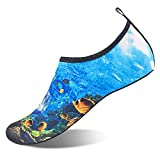 Womens and Mens Kids Water Shoes Barefoot Quick-Dry Aqua Socks for Beach Swim Surf Yoga Exercise (Undersea Shark, L)