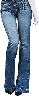 RISTHY Pantalones Vaqueros Acampanados Mujeres Jeans Pantalones Lápiz Largos Pantalones de Campana Elástico con Bolsillos ...