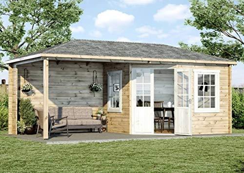 Alpholz 5-Eck Gartenhaus Mosel aus Massiv-Holz | Gerätehaus mit 28 mm Wandstärke | Garten Holzhaus inklusive Montagematerial | Geräteschuppen Größe: 598 x 300 cm