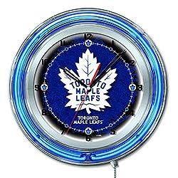 Holland Bar Stool Co. Toronto Maple Leafs HBS Neon Blue Hockey Battery Powered Wall Clock (19)