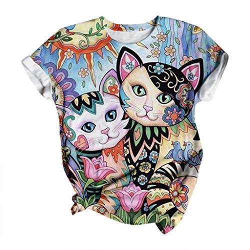 YANFANG Camisetas Basicas Manga Corta Mujer,Camiseta Holgada de Manga Corta con Cuello Redondo y Estampado de Gato Casaul Boho para Mujer Deportivo,Fitness,devertidas