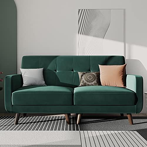 HONBAY Tufted Velvet Fabric Loveseat Living Room 2 Seater Sofa Upholstered Loveseat Sofa for Small Apartment, Emerald Green