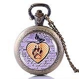 XQKQ Relojes de Bolsillo para Hombres, Reloj Personalizado, Nuevo Collar de Reloj de Bolsillo con Pata de Gato, Regalo...