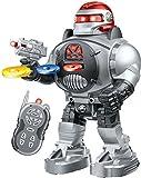 ThinkGizmos Robot Enfant RoboShooter Robot télécommandé pour Enfants - Jouet Enfant pour garçons et Filles de 5 Ans et Plus (Argent)