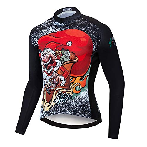 Weihnachtsthema Radtrikot mit langärmligen, schnell trocknenden elastischen Fahrradtrikots Sommer Outdoor Komprimierte MTB-Shirts Biking Sportswear