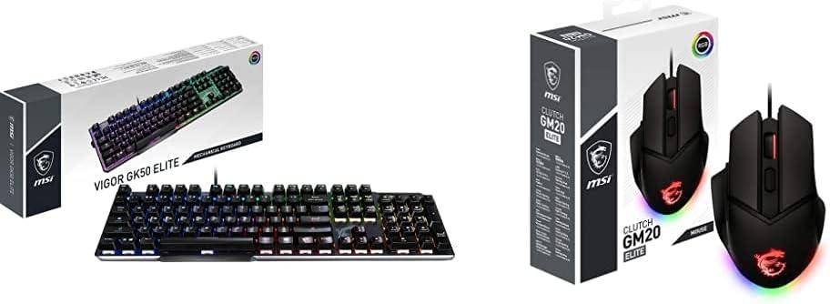 MSI Vigor Gk50 Elite - Teclado Gaming En Español, RGB + Clutch Gm20 Elite - Ratón Gaming (RGB, Pesos Ajustables, 6400 dpi, Diestro, Sensor Óptico Pixart Paw-3309), Negro