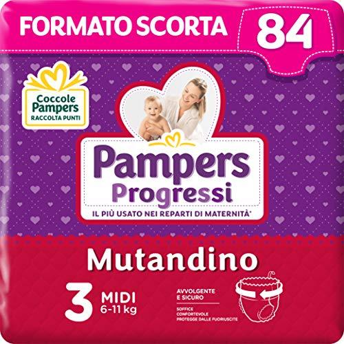 Pampers Progressi Mutandino Midi, 84 Pannolini, Taglia 3 (6-11 Kg)