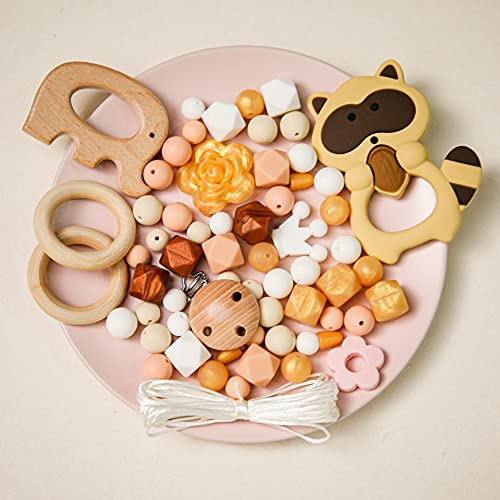 Mamimami Home DIY Collier Teether Silicone Bracelet en soins infirmiers Perles Hexagonales Clips de sucette Bague en bois Jouet bébé Perles de dentition