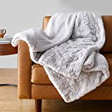 Amazon Basics Fuzzy Faux Fur Sherpa Throw Blanket, 50'x60' - Light Grey