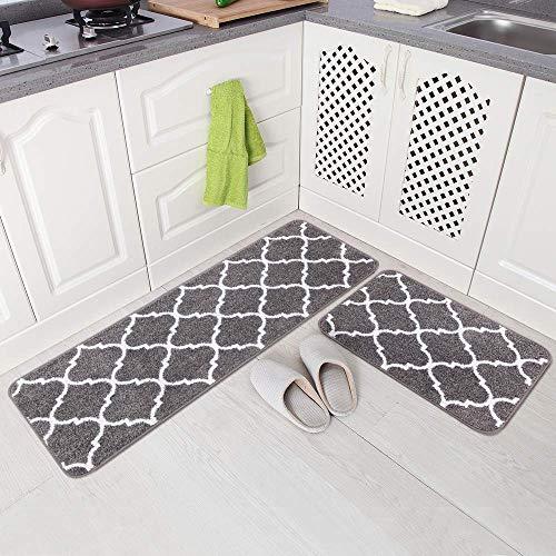 Carvapet 2stk Küchenläufer Waschbar rutschfest Küchenmatte Küchenteppich Marokkanisches Muster Teppich Läufer Küche Fußmatte Badematten Set (Grau)