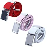 3 PCS Kids Adjustable Magnetic Belts - Easy to Use Magnetic Buckle Belt for Boys and Girls (Red/Pink/White)