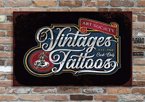 La plaque de décoration en métal Vintage Tattoo