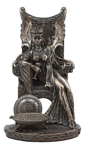 Ebros Celtic Goddess Of Fertility Maeve Seated On Throne Statue 11'Tall Medb Queen of Connacht Figurine Ulster Cycle