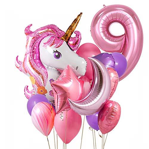 Unicornio Decoracion Cumpleaños niña 9 año,9 Cumpleaños Globos de Fiesta Niños Unicornio...