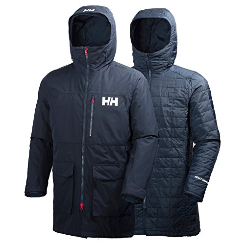 Helly Hansen Men's Rigging Hooded Insulated Waterproof Windproof Breathable Long Length Parka Coat, 597 Navy, XXX-Large