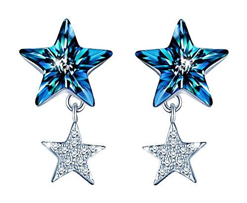 Infinito U - Pendientes para Mujer Plata de Ley 925 Circonita Cúbica Doble Estrellas con Cristal Azul, Idea Regalo para Mujeres Chicas