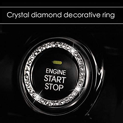 Heylas Kristall Strass Auto Bling Ring Emblem Aufkleber, Autozubehör für Auto Start Motor Zündschlüssel & Knöpfe für Autoinnenraum, Einzigartiges Geschenk für Frauen