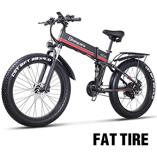 sheng milo 26 Pollici Fat Tire Electric Bike 1000W 48V Snow E-Bike Shimano 21 velocità Beach Cruiser Mens Women Mountain e-Bike Pedal Assist, Batteria al Litio Freni a Disco Idraulici (Rosso)