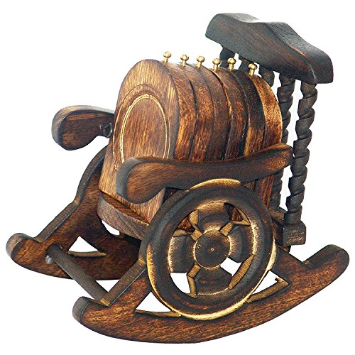 Wooden Antique Hand Crafted Coasters Decorated in Rocking Chair Stand Set of 6 Pcs by Super India