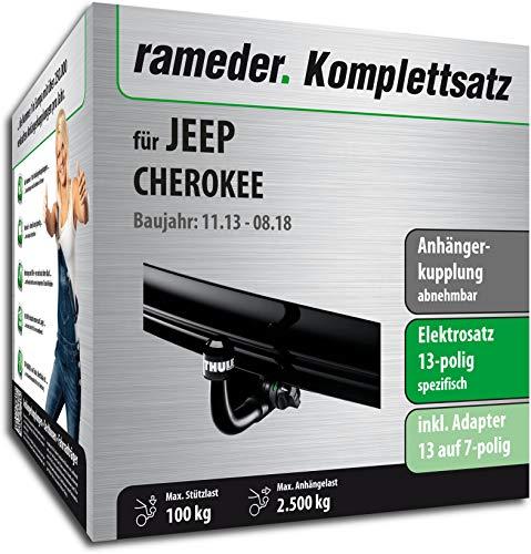 Rameder Komplettsatz, Anhängerkupplung abnehmbar + 13pol Elektrik für Jeep Cherokee (148466-11738-1)
