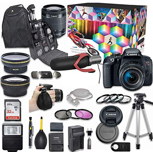 Canon EOS Rebel T7i DSLR Camera Deluxe Video Kit with Canon EF-S 18-55mm f/3.5-5.6 is STM Lens + Wide Angle Lens + 2X Telephoto Lens + Flash + SanDisk 32GB SD Memory Card + Accessory Bundle (Renewed)