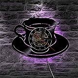 WERWN Reloj de Pared LED Diseño Moderno Taza de café Reloj de Cocina Disco de Vinilo Multicolor Reloj de Pared Decoración