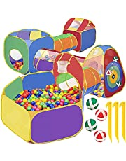 7 PCS Play Tunnel And Tent For Kids With 4 Dart Balls Kids Baby Ball Pit For Babies Playhouse For Toddlers Boys Girls Indoor Playground For Toddlers Play Tunnel For Kids