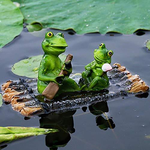 Good feeling zm 18X11X11Cm Bambus Reihe Schwimmfrosch Simulation Frosch Aquarium Dekorative Ornamente Garten Im Freien Kleinen Teich Landschaftsbau Harz Skulptur