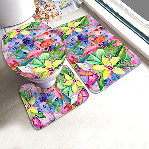 Kcmical Juego de Alfombrillas de baño de 3 Piezas con Estampado de Flores de Color Flamenco, Alfombrilla Antideslizante para el Suelo, alfombras de baño Suaves de Secado rápido para Ducha