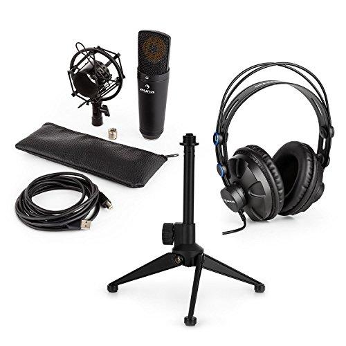 auna MIC-920B - Mikrofon-Set V1, 3-teilig, USB Kondensatormikrofon + Studio-Kopfhörer + Mikrofon-Tischständer, Plug&Play, Over-Ear-Ohrmuschel, Höhenverstellbar 12-19,5 cm, rutschfest, schwarz