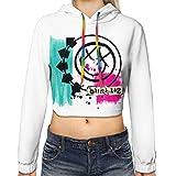 Blink 182 Happy Face Logo Dew Navel Hoodie Women Long Sleeve Sexy Crop Top Hoodie Casual Sweater Hoody Black
