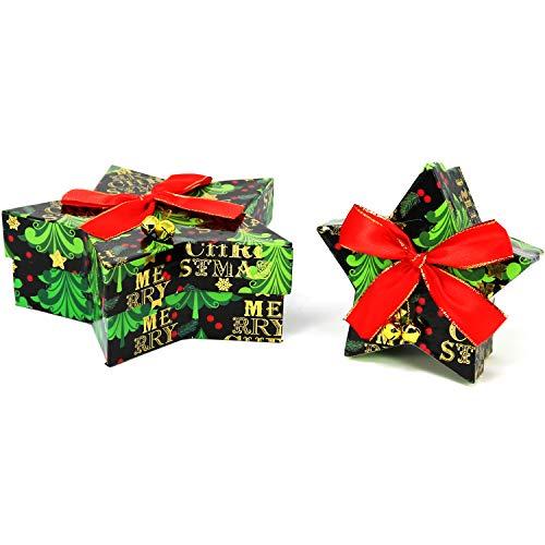 COM-FOUR® 2x geschenkdoos voor kerst, kleine en grote doos met deksel in ster-design (02 stuks - ster zwart)