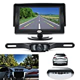 GerTong Backup Camera Kit, Waterproof Rear View Camera with 4.3 Inch LCD Monitor License Plate, Universal Super Night Vision Reverse Camera for Car Pickup/Truck/SUV/Van/RV/Trailer