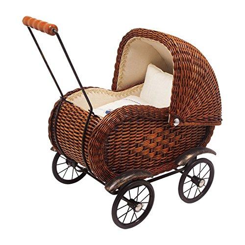 """small foot 8762 Puppenwagen """"Elisabeth"""" im nostalgischen Design aus Holzrattan, mit beweglichem Verdeck inkl. Wäsche"""