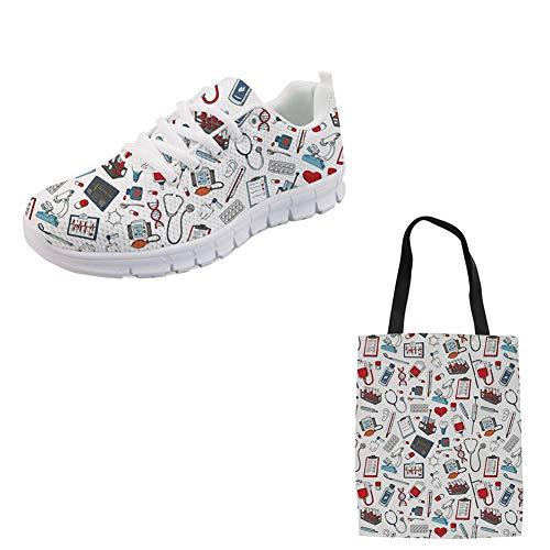 Woisttop Medical Equipments Zapatos para Correr + Bolsa de Compras para Mujer 2 artículos, Ligeros para Corredores Zapatos de Entrenamiento de Moda para Mujeres y Hombres