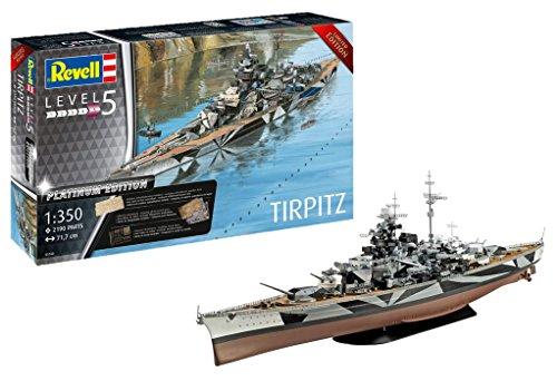 Revell 05160 Tripitz 14 Modellbausatz TIRPITZ (Platinum Edition) im Maßstab 1:350, Level 5