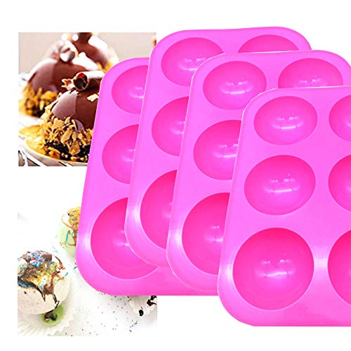 Bakeware Sets,Medium Semi Sphere Silicone Mold,Baking Mold for Making Hot Chocolate Bomb, Cake, Jelly, Dome Mousse, Healthy way of life, (4, Pink)