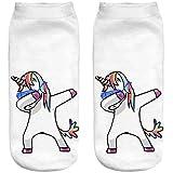 Ferocity Lustige Socken Sneaker Halbsocken Strümpfe Sportsocken Füßlinge mit Motiv 3D Einhorn tanzen [001], unicornss, 36 - 40
