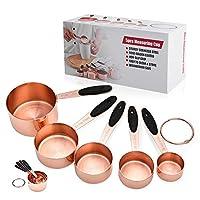 Photo Gallery alfaview 2 in1 5 misurini di tazze e 5 misurini cucchiai, set di 5 cucchiai dosatori e misurino, in acciaio inox, con manici antiscivolo per cucina cottura per misurare gli ingredienti (misurino)