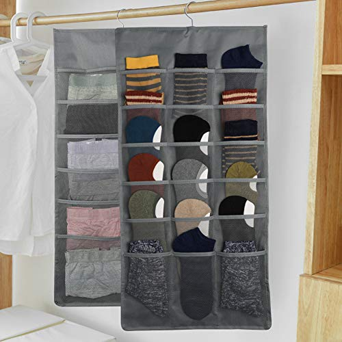 Closet Hanging Organizer with Mesh Pockets & Rotating Metal Hanger,Dual Sided Wall Shelf Wardrobe Storage Bags,Oxford Cloth Space Saver Bag for Bra Underwear Underpants Socks (Beige, Expand 30 Pocket)
