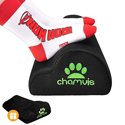 Chamvis Office Foot Rest Under Desk,Ergonomic Curve Cushion Non-Slip Footrest,Mesh Breathable and Soft Velvet Two Kinds of Covers,for Home, Office, Car, Airplane to Relieve Lumbar, Back, Knee Pain