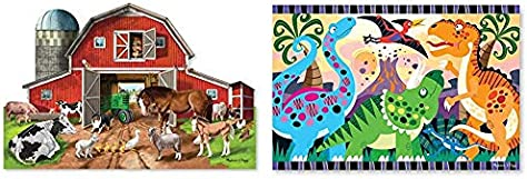 Melissa & Doug Busy Barn Shaped Floor Puzzle & 24pc Dinosaur Dawn Floor Puzzle