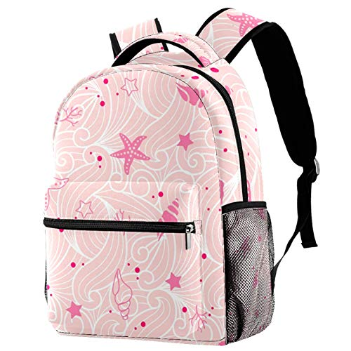 Pink Shellfish Summer Beach Wave Pattern Backpack for Teens School Book Bags Travel Casual Daypack
