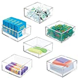 mDesign Plastic Stackable Drawer Organizer for Home Office, Desk Drawer, Shelf or Closet to Hold Staples, Highlighters, Adhesive Tape, Paper Clips, Stamps - 4' Square, 6 Pack - Clear